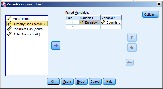 Then drag the paired variables into the same pair.