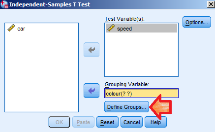 Put the response (speed) into the Test Variable(s) section.