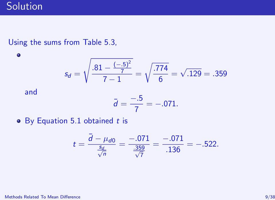 774 = =.129 =.359 6 and d =.5 7 =.071. By Equation 5.