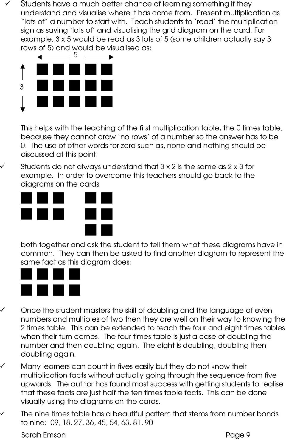 For example, 3 x 5 would be read as 3 lots of 5 (some children actually say 3 rows of 5) and would be visualised as: 5 3 This helps with the teaching of the first multiplication table, the 0 times