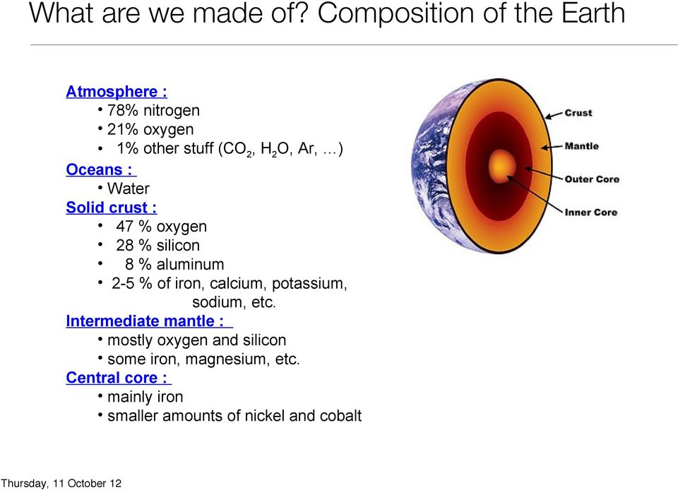 Water Solid crust : 47 % oxygen 28 % silicon 8 % aluminum 2-5 % of iron, calcium, potassium, sodium, etc.