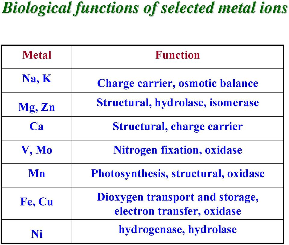 Structural, charge carrier itrogen fixation, oxidase Photosynthesis, structural,
