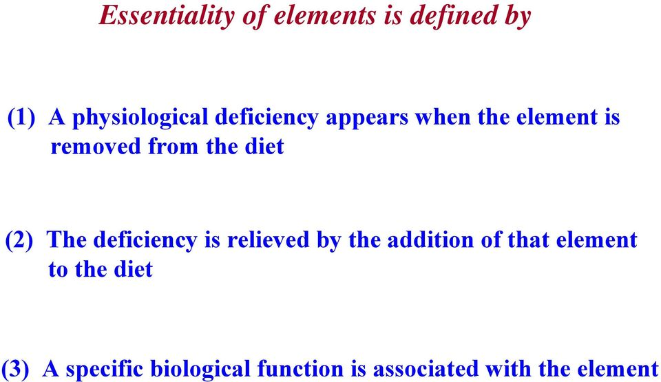 The deficiency is relieved by the addition of that element to