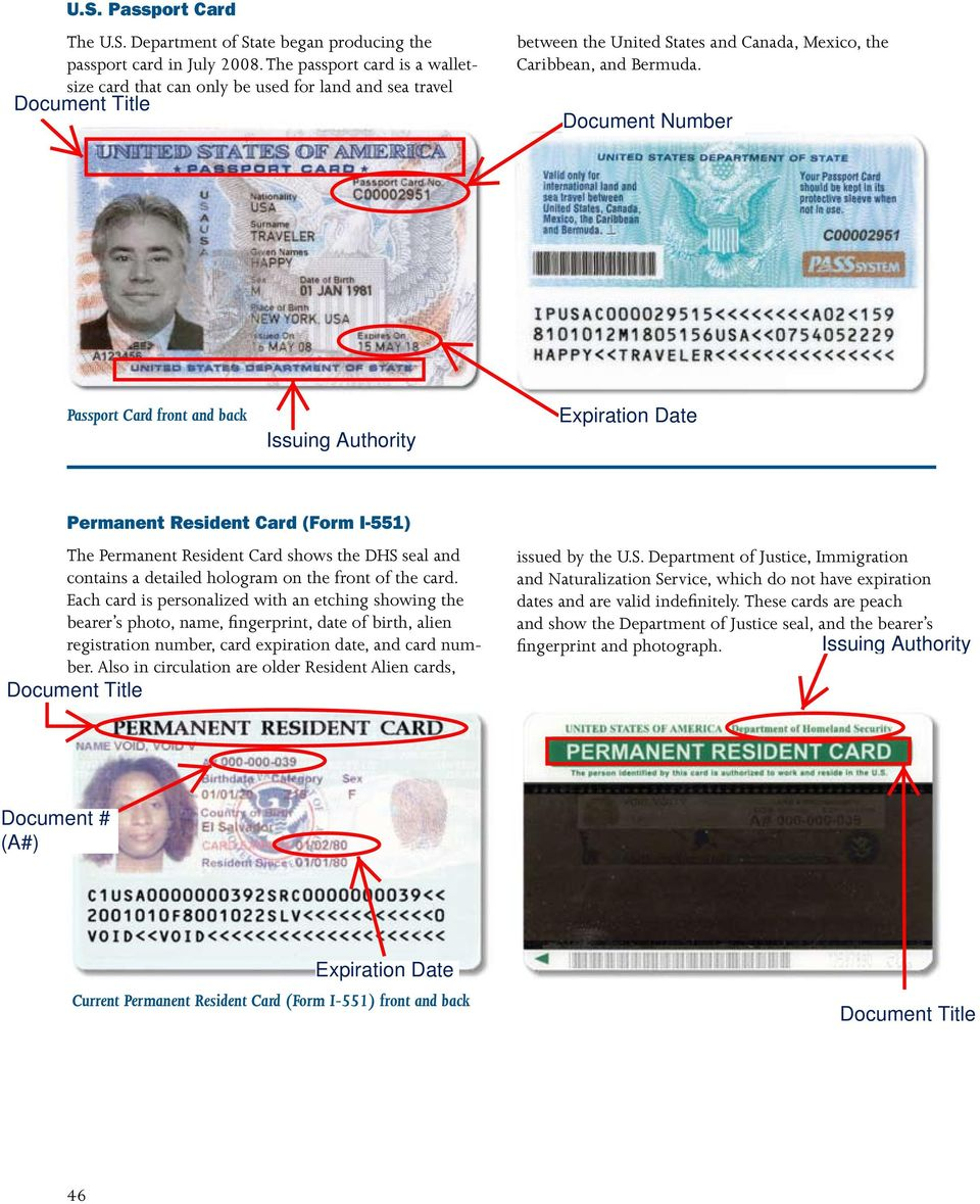 Passport Card front and back Permanent Resident Card (Form I-551) The Permanent Resident Card shows the DHS seal and contains a detailed hologram on the front of the card.