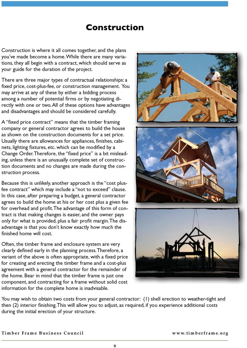Building a timber frame home pdf for Fixed price house build