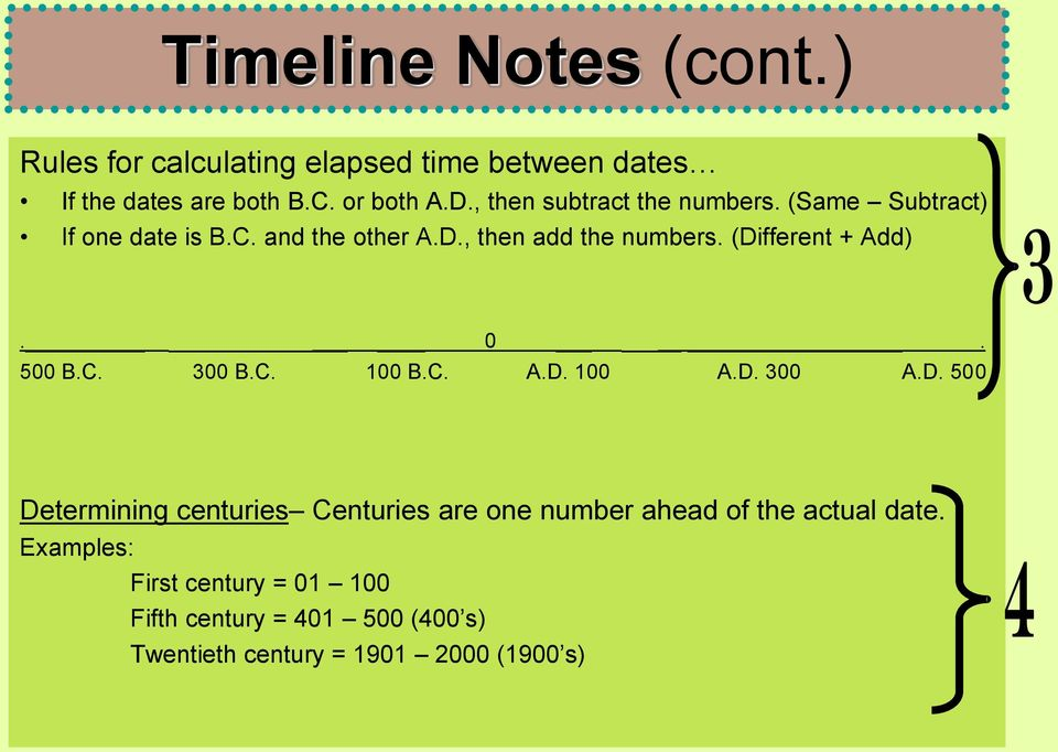 (Different + Add). 0. 500 B.C. 300 B.C. 100 B.C. A.D. 100 A.D. 300 A.D. 500 Determining centuries Centuries are one number ahead of the actual date.