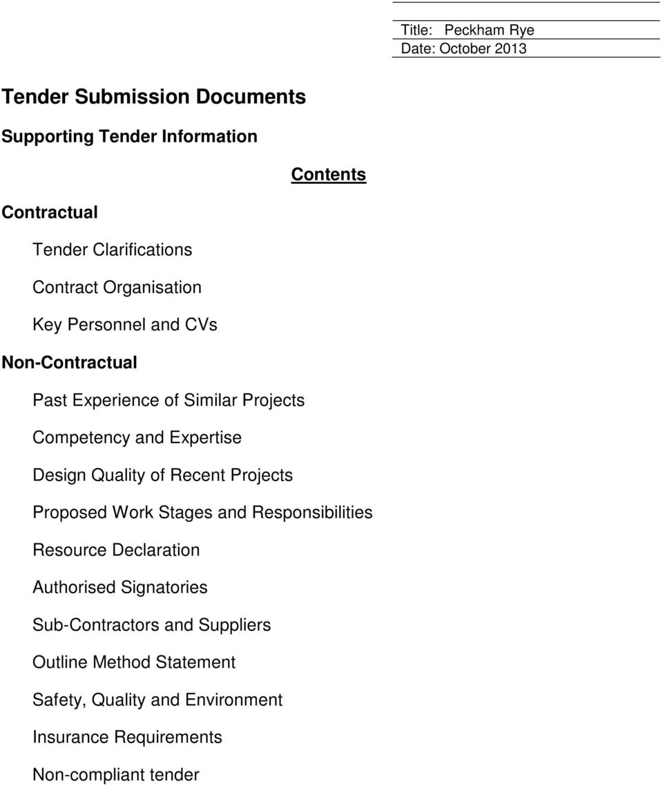 Design Quality of Recent Projects Proposed Work Stages and Responsibilities Resource Declaration Authorised