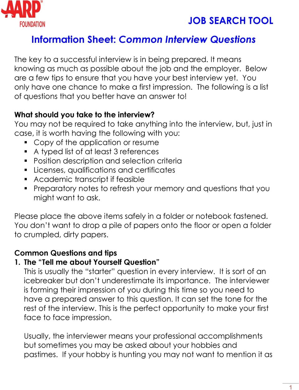 What should you take to the interview?