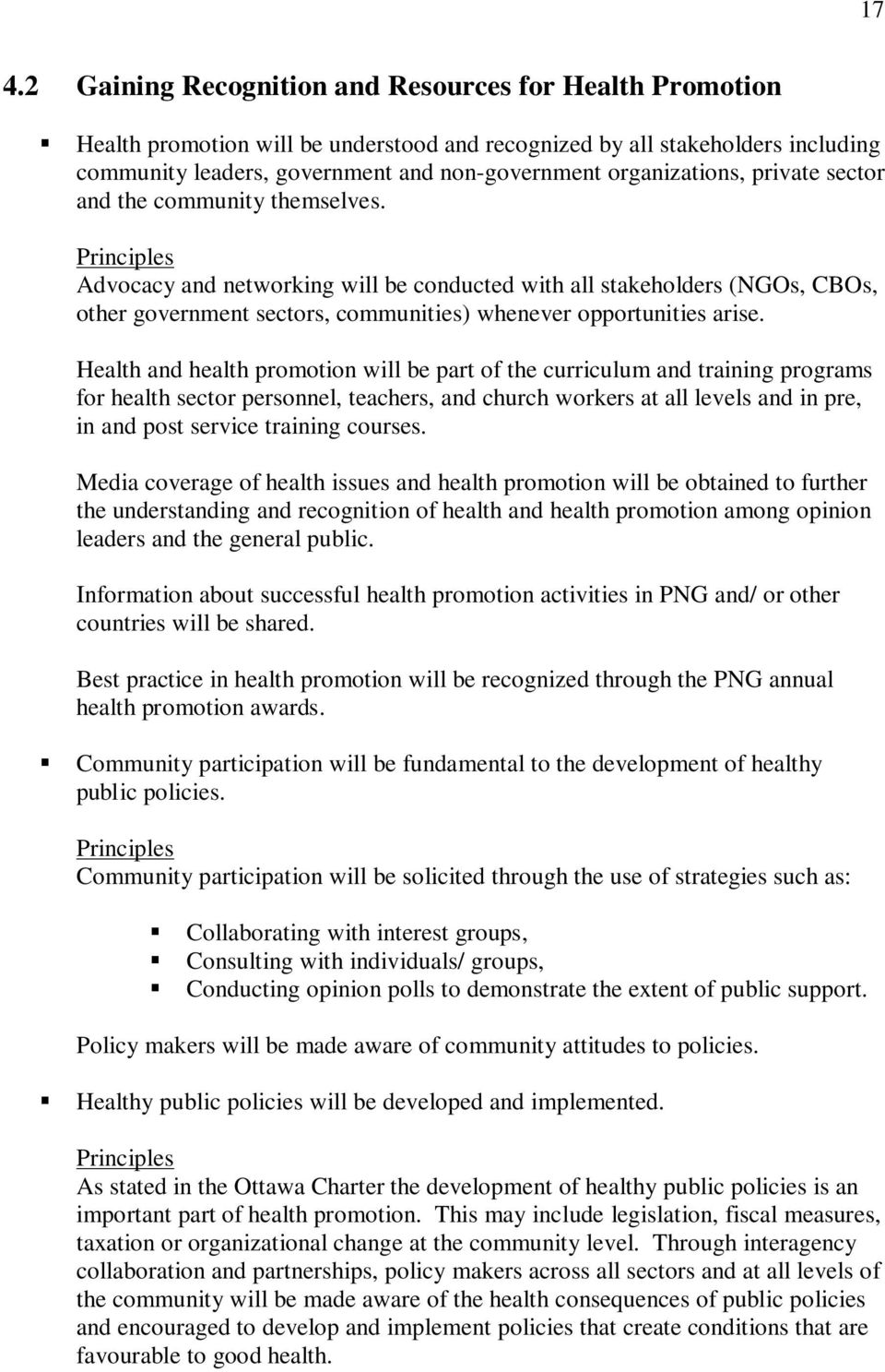 principles and policies of health promotion Health promotion care australia is known for its health promotion programs and policies health promotion: principles and practice in the australian context.