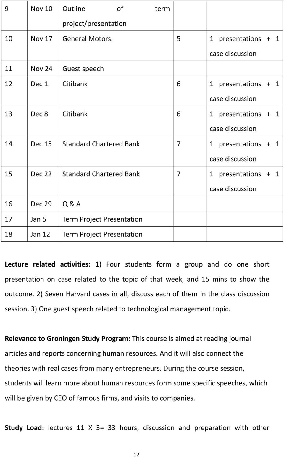 Chartered Bank 7 1 presentations + 1 16 Dec 29 Q & A 17 Jan 5 Term Project Presentation 18 Jan 12 Term Project Presentation Lecture related activities: 1) Four students form a group and do one short