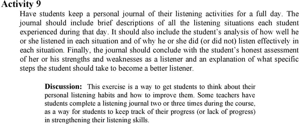 It should also include the student s analysis of how well he or she listened in each situation and of why he or she did (or did not) listen effectively in each situation.