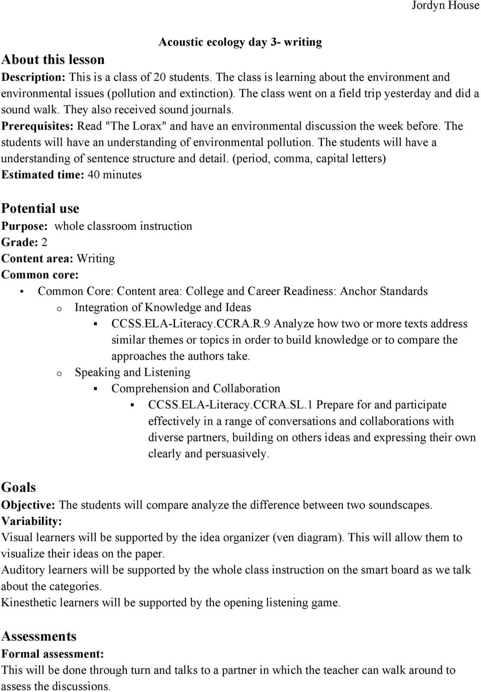 Writing objectie for common assessment essay