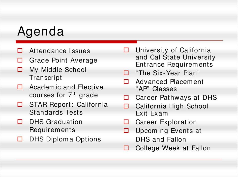 California and Cal State University Entrance Requirements The Six-Year Plan Advanced Placement AP Classes Career