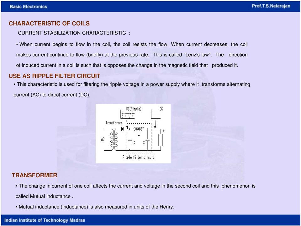 The direction of induced current in a coil is such that is opposes the change in the magnetic field that produced it.