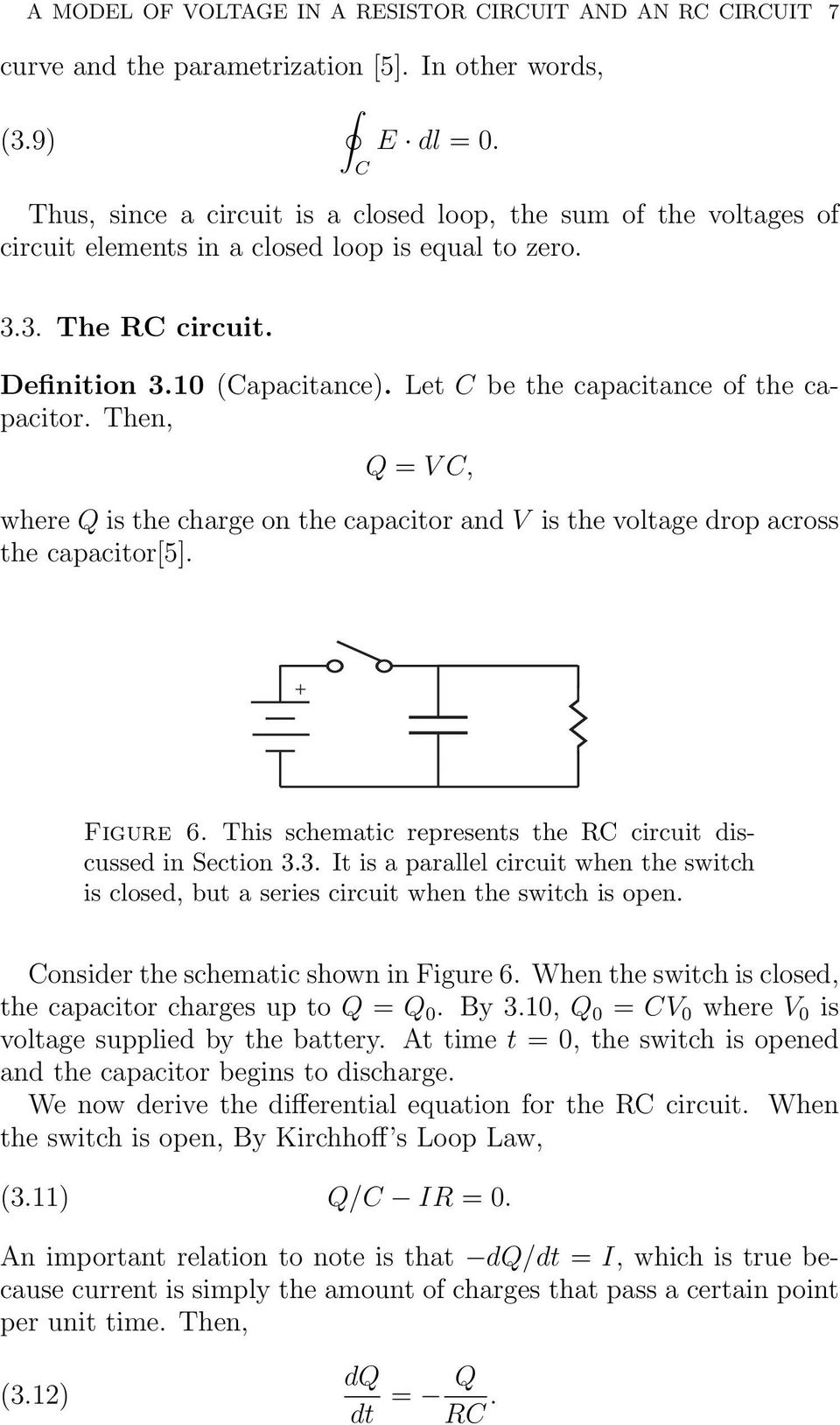 A Model Of Voltage In Resistor Circuit And An Rc Pdf Answer 1 Has Switches Series 2 Let C Be The Capacitance Capacitor Then Q V Where