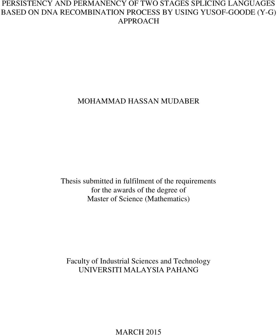 fulfilment of the requirements for the awards of the degree of Master of Science