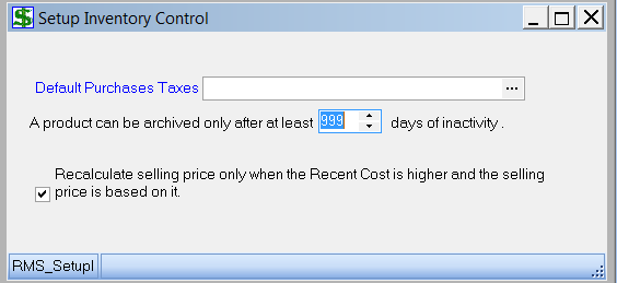 Set up Inventory Control 1. Under Setup, choose Inventory Control 2. The following window should appear: 3.