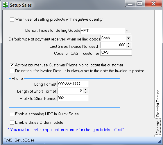 Set up Sales 1. Get into the POS module 2. Under Setup, choose Sales 3. The following window should appear: 4. Notice there are 2 tabs at the right side of this window General and Receipt Printing.