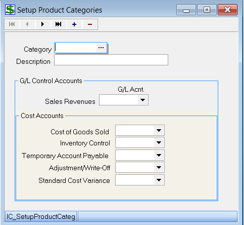 Set up Product Categories NOTE: Each product must belong within a Category 1. Under Inventory, choose Setup Product Categories 2. The following window should appear: 3.