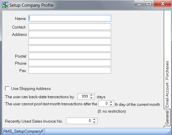 Set up Company Profile 1. Under Setup, choose Company Profile 2. The following window should appear: 3. Notice the 3 tabs (General and Email Account and Purchases) on the right side 4.