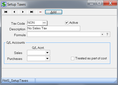 Set up Taxes 1. Under Setup, choose Taxes 2. The Setup Taxes window should appear as follows: 3. The sample data that came with the installation contains 3 tax codes a.