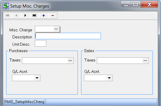 Set up Misc. Charges Miscellaneous Charges are used in 2 different ways: a) Sales To record non-inventory sales (i.e.: Delivery Charges) b) Purchases To record non-inventory purchases if you don t want to pick a general ledger account number.