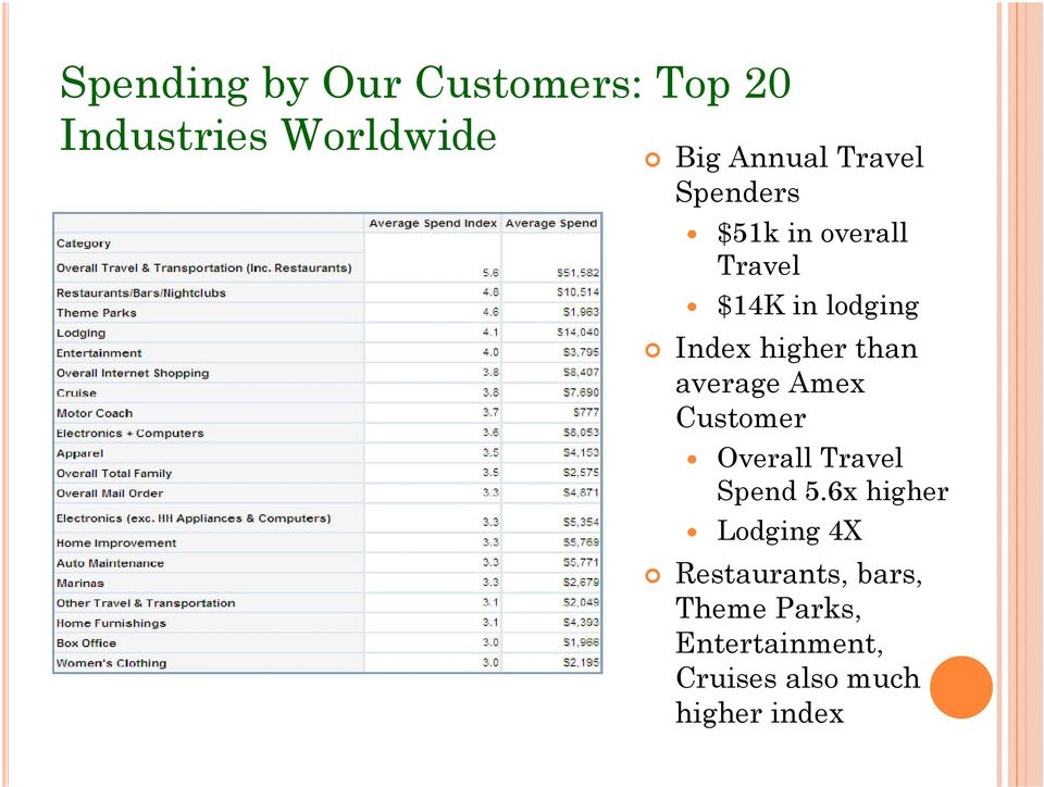 than average Amex Customer Overall Travel Spend 5.