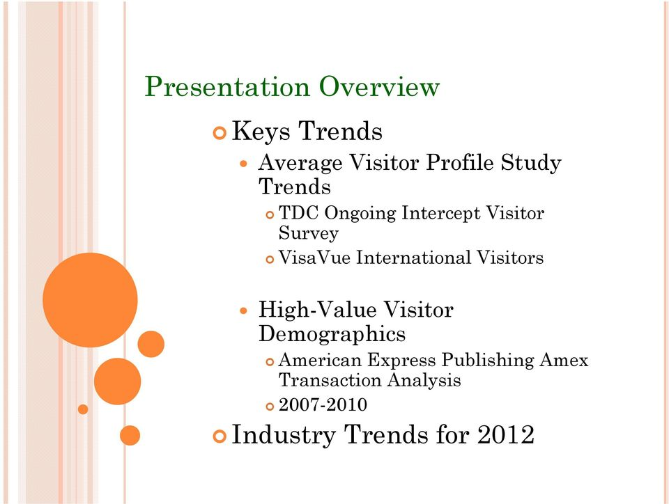 International Visitors High-Value Visitor Demographics American