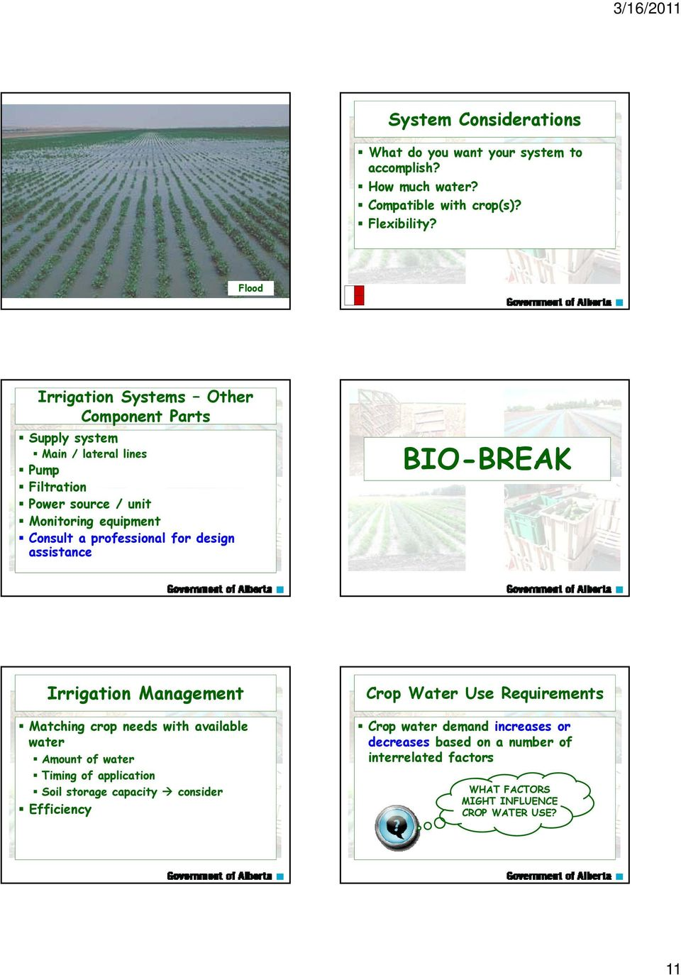 professional for design assistance BIO-BREAK Irrigation Management Matching crop needs with available water Amount of water Timing of application Soil