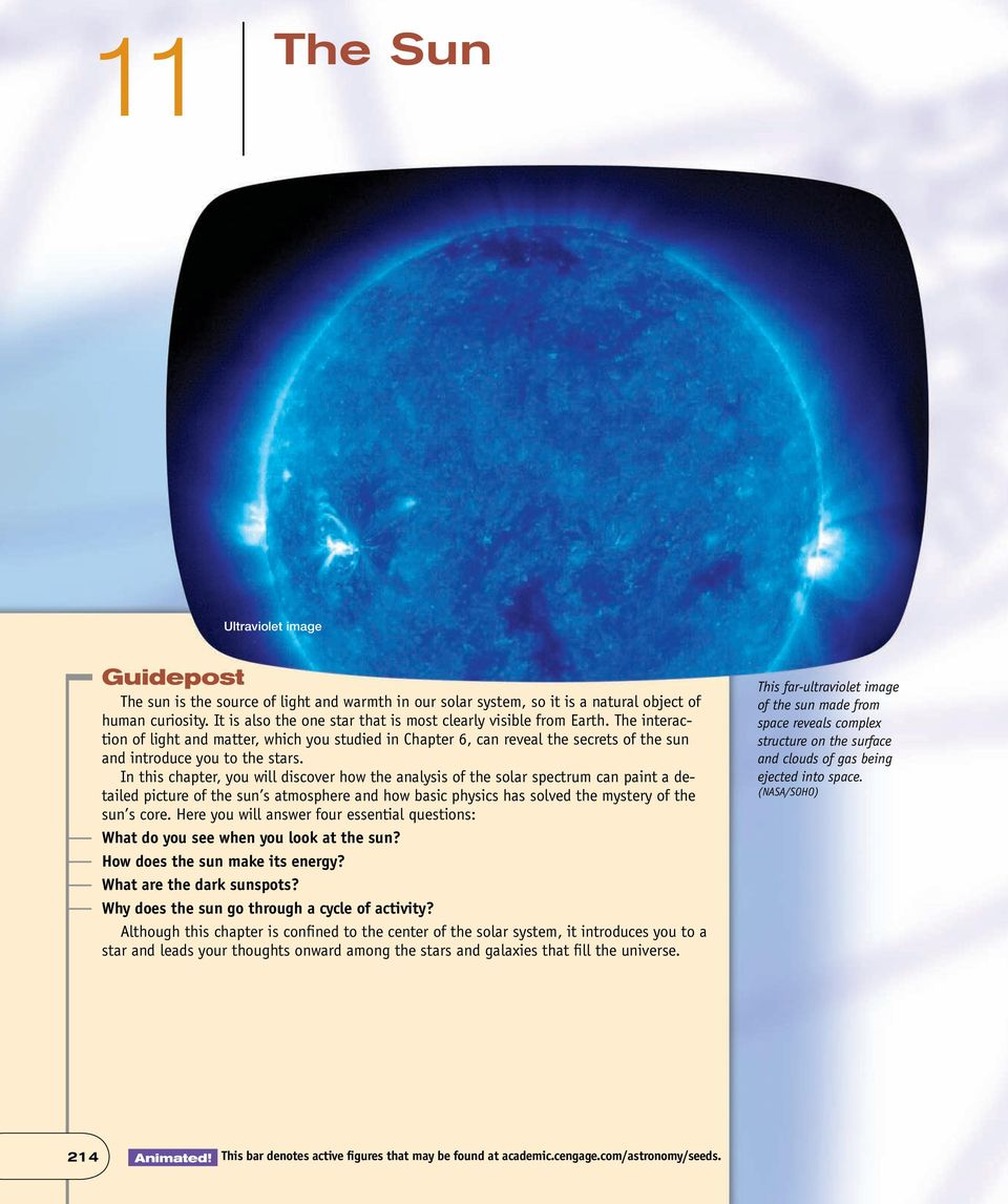 In this chapter, you will discover how the analysis of the solar spectrum can paint a detailed picture of the sun s atmosphere and how basic physics has solved the mystery of the sun s core.