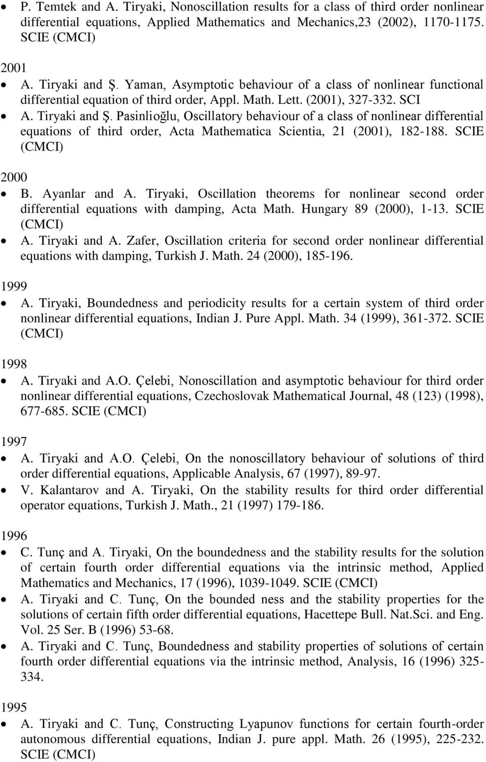 Pasinlioğlu, Oscillatory behaviour of a class of nonlinear differential equations of third order, Acta Mathematica Scientia, 21 (2001), 182-188. SCIE (CMCI) 2000 B. Ayanlar and A.