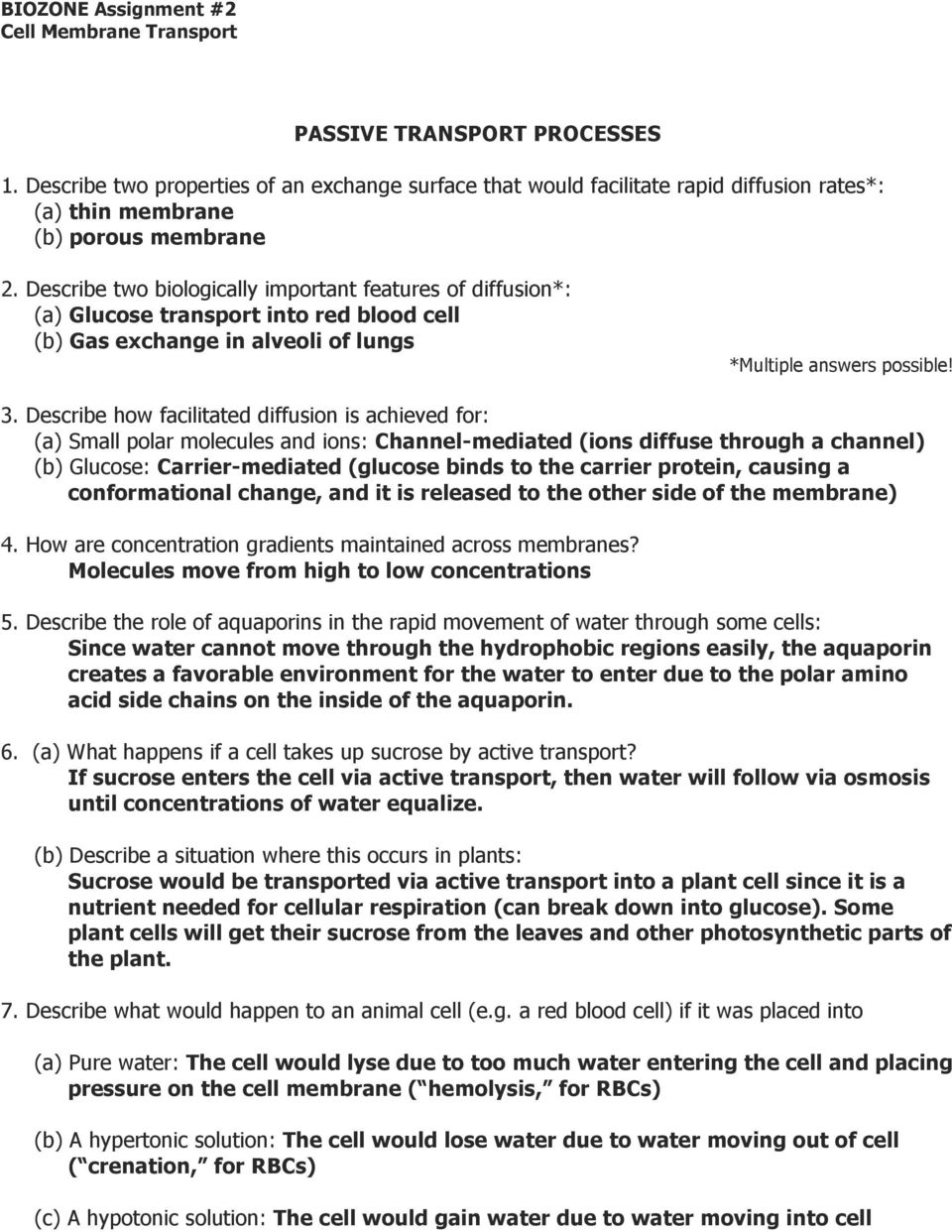 Cell Transport Worksheet Answer Key Delibertad – Passive and Active Transport Worksheet