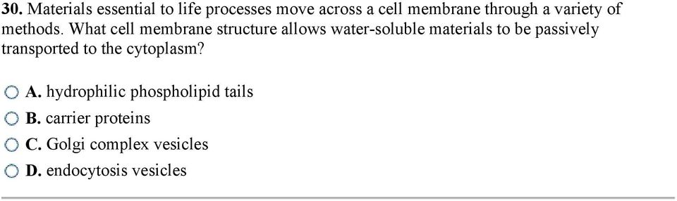 What cell membrane structure allows water-soluble materials to be passively