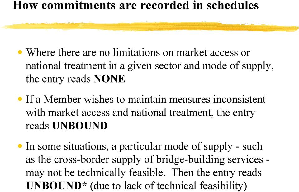 national treatment, the entry reads UNBOUND In some situations, a particular mode of supply - such as the cross-border supply
