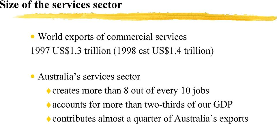 4 trillion) Australia s services sector creates more than 8 out of