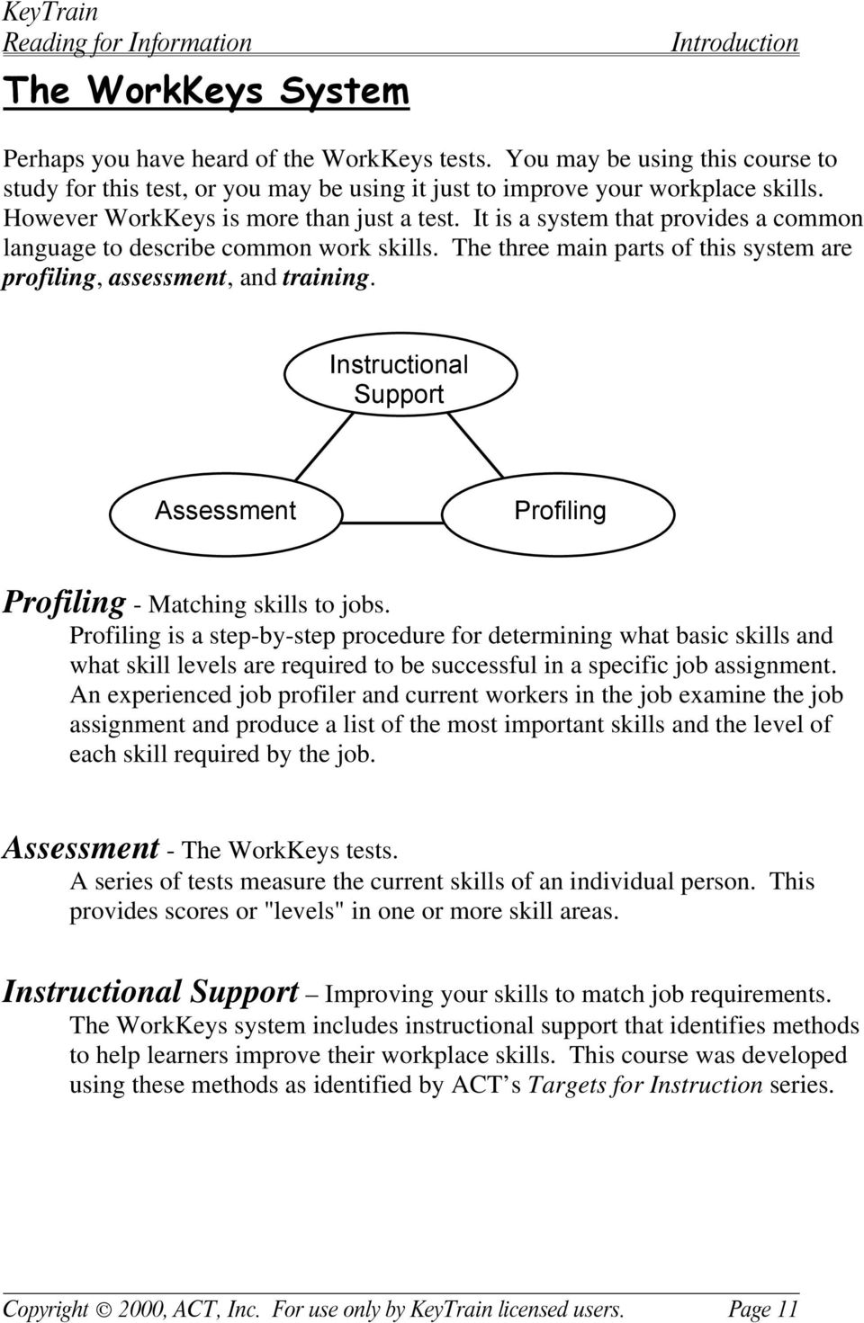 Instructional Support Assessment Profiling Profiling - Matching skills to jobs.