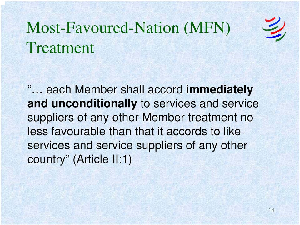 any other Member treatment no less favourable than that it accords