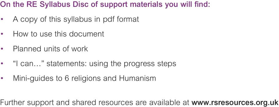 statements: using the progress steps Mini-guides to 6 religions and