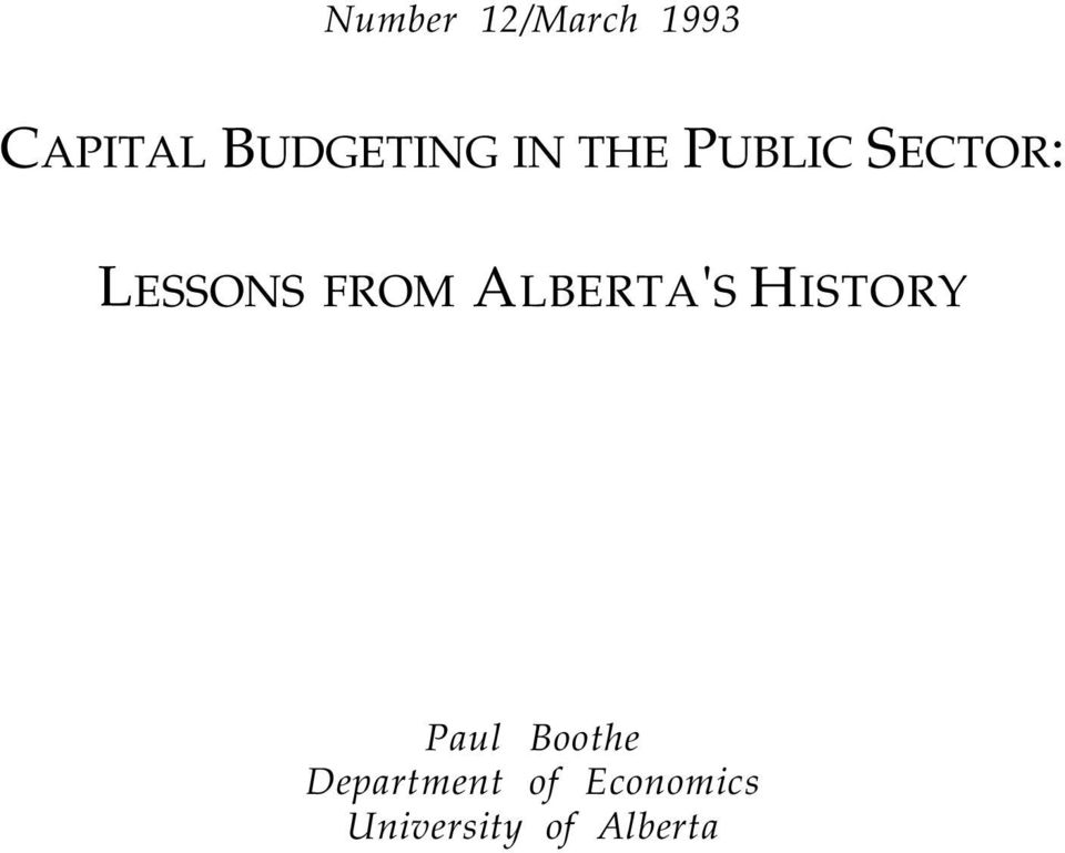 LESSONS FROM ALBERTA'S HISTORY Paul