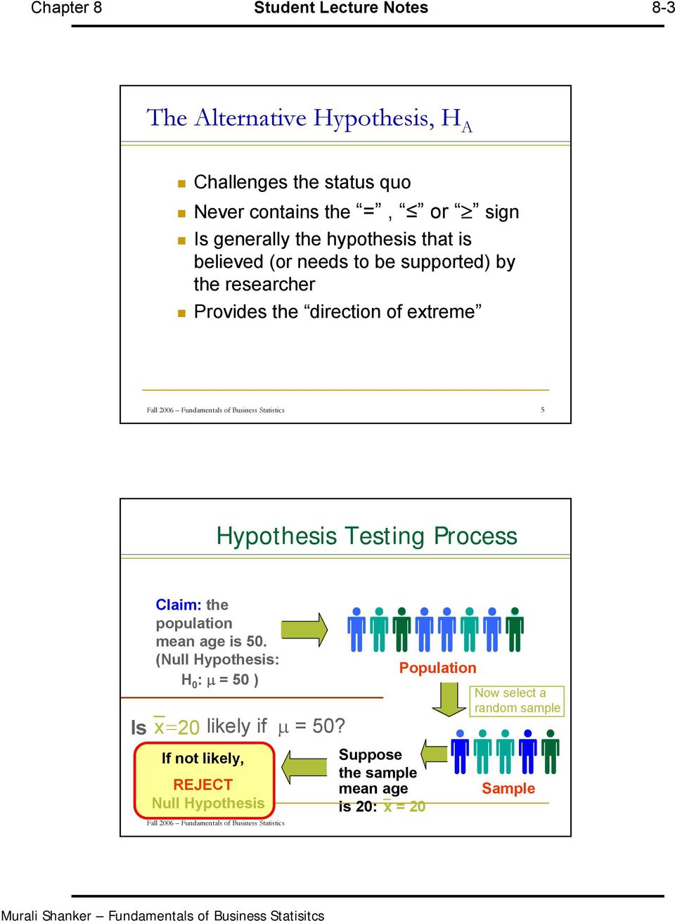 Statistics 5 Hypothesis Testing Process Claim: the population mean age is 5. (Null Hypothesis: H : μ = 5 ) Is x=2 likely if μ = 5?