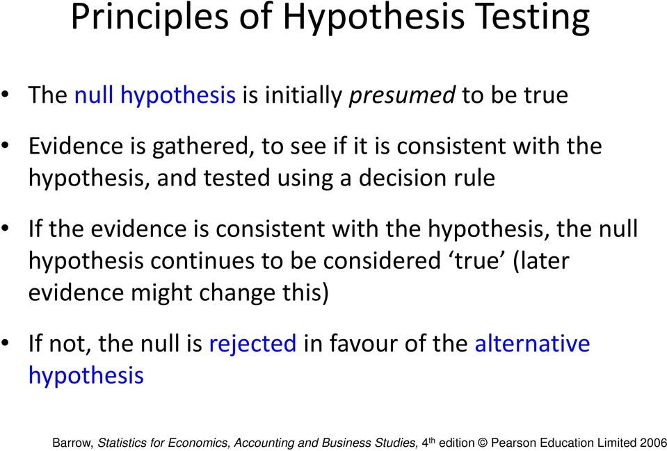 evidence is consistent with the hypothesis, the null hypothesis continues to be considered true