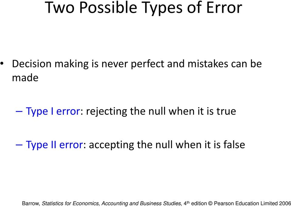 error: rejecting the null when it is true Type