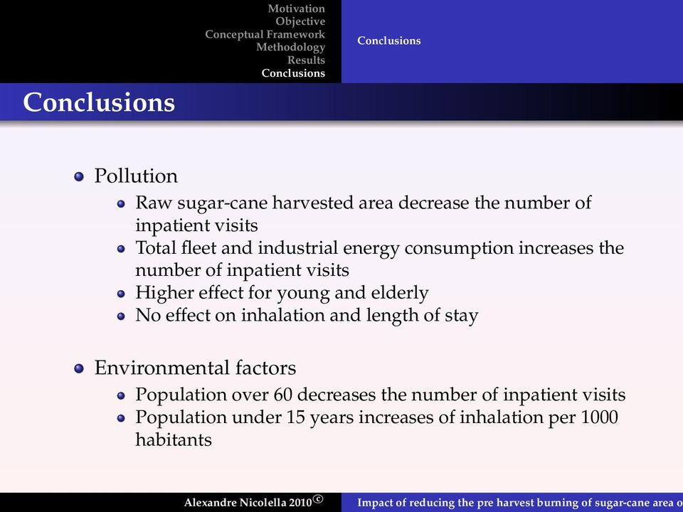 young and elderly No effect on inhalation and length of stay Environmental factors Population over 60