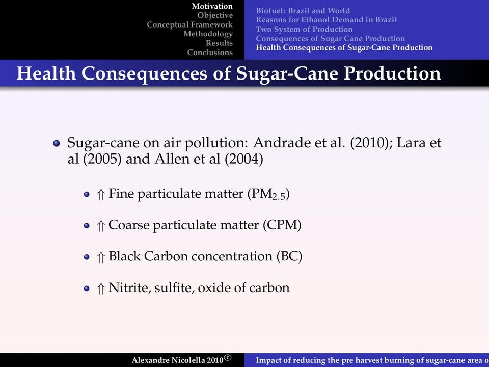 Sugar-cane on air pollution: Andrade et al.
