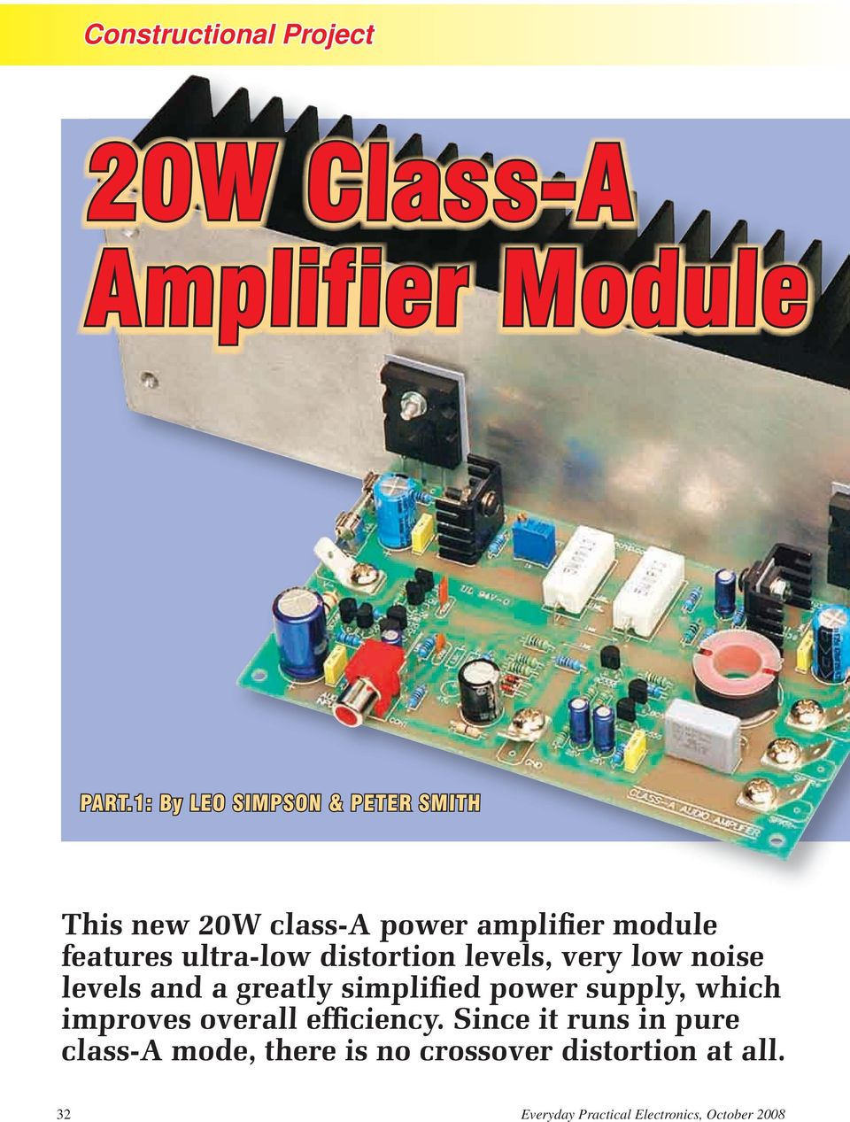 20w Class A Amplifier Module Pdf Circuit Dynamic Power With Ic Dmos Tda7294 Bridge Ultra Low Distortion Levels Very Noise And Greatly Simplified Supply