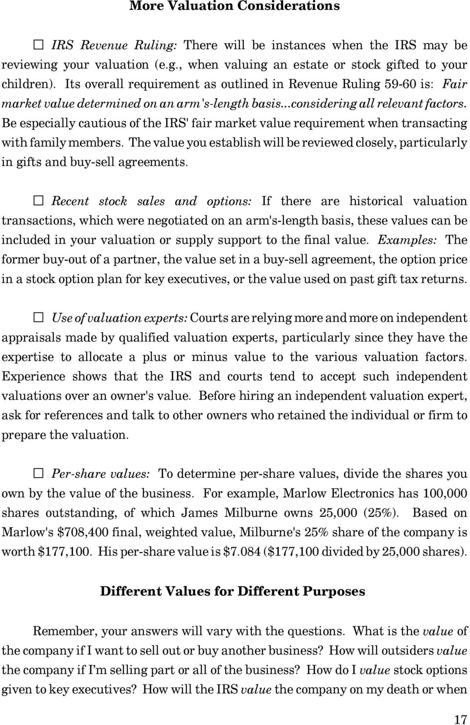 Determining fair market value of stock options