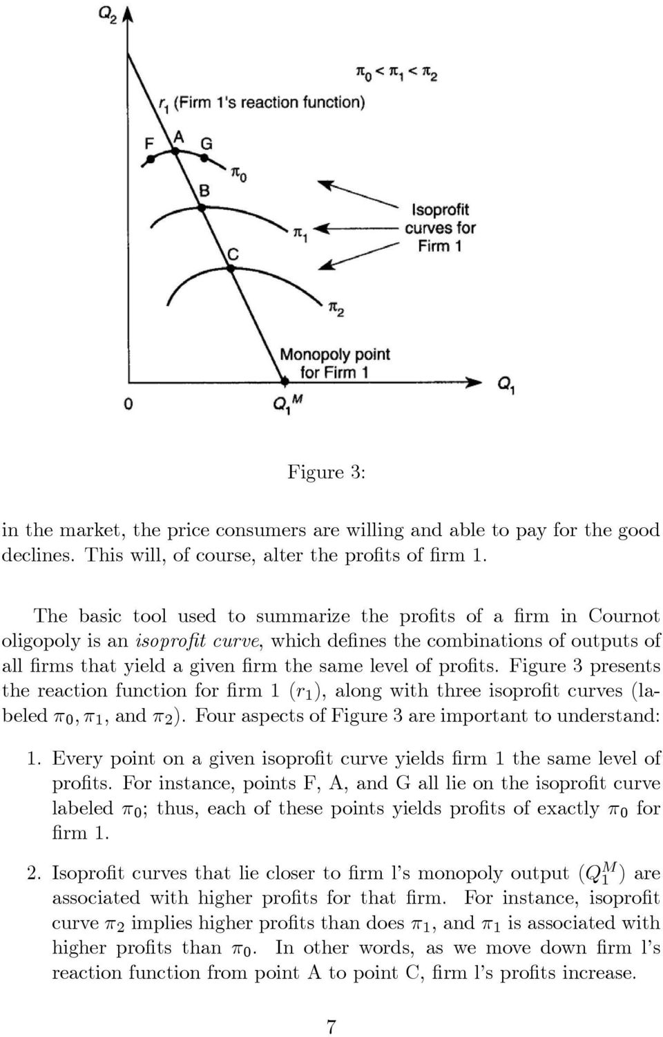 profits. Figure 3 presents the reaction function for firm 1 (r 1 ), along with three isoprofit curves(labeled π 0, π 1, and π 2 ). Four aspects of Figure 3 are important to understand: 1.