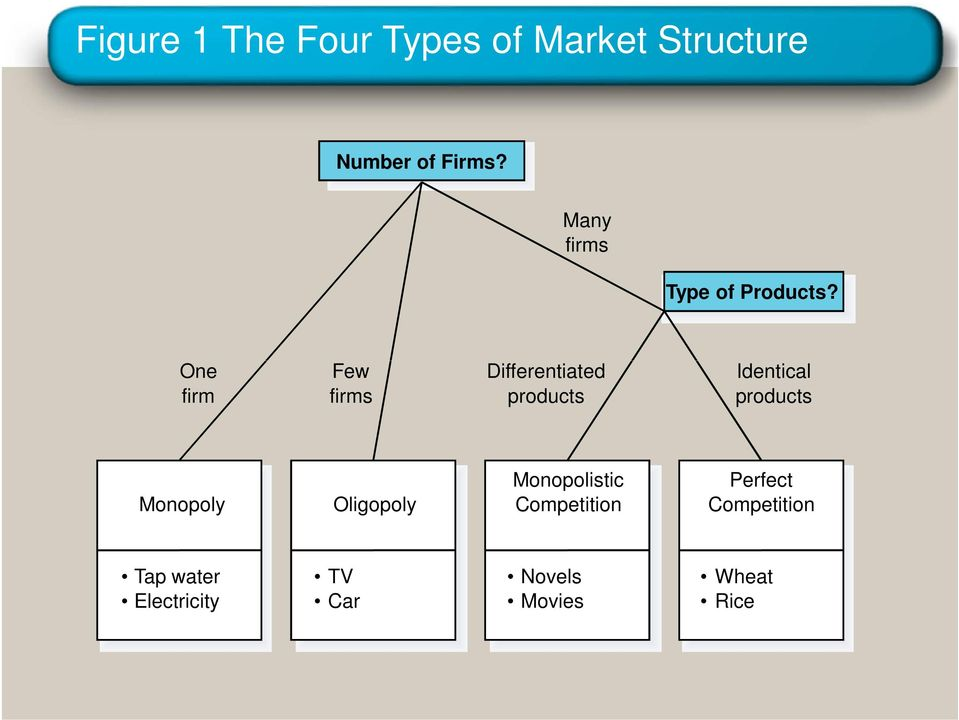 One firm Few firms Differentiated products Identical products