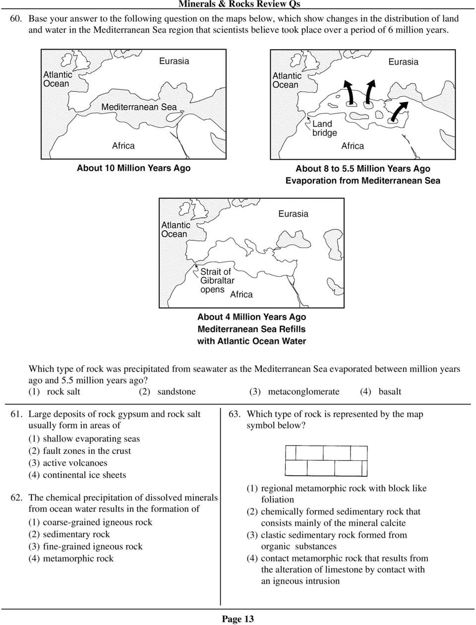 worksheet Sedimentary Rock Formation Worksheet minerals rocks review qs pdf 1 rock salt 2 sandstone 3 metaconglomerate 4