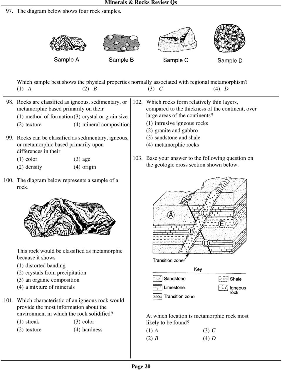 Minerals rocks review qs pdf rocks can be classified as sedimentary igneous or metamorphic based primarily upon differences in pooptronica Choice Image